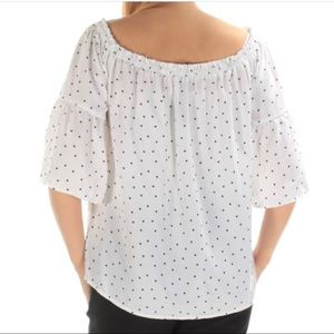 KENSIE Womens Polka In The Dots Pullover Blouse M
